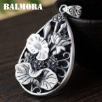 BALMORA Authentic 990 Pure Silver <b>Jewelry</b> Vintage Lotus Flower Hollow Pendants Women Mothers' Gift <b>Accessories</b> Bijoux SY14212