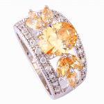 <b>Art</b> <b>Deco</b> Fancy Oval Cut yellow hollow 925 Silver color Ring Size 7 8 9 10 New Fashion <b>Jewelry</b> Gift For Women Wholesale
