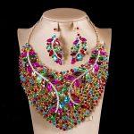 XT QU Colorful <b>jewelry</b> set Nigerian bead bridal wedding necklace and earring <b>jewelry</b> set fashion dress <b>accessories</b> free shipping