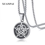 Chain Viking Vintage Mens Punk Stainless Steel Necklaces Pendants Pentagram Pentaclefor Retro <b>Antique</b> Male Gift Fashion <b>Jewelry</b>