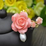 1PC Fashion Cute Pink Coral Flowers With Pearl Brooch Metal Pendant Charms Findings For Women Girls <b>Jewelry</b> Making <b>Accessories</b>