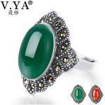 V.YA 925 Sterling Silver Oval Stone Rings For Women Vintage Look <b>Antique</b> Flower Wedding Bands Fine <b>Jewelry</b>
