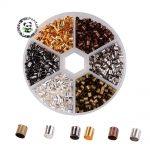1 box 6 colors <b>antique</b> bronze & red copper & golden & silver & Metal & black column brass crimp beads, cadmium free & lead free