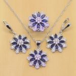 Flower Blue Cubic Zirconia White CZ 925 Silver <b>Jewelry</b> Sets For Women Wedding <b>Accessories</b> Earrings/Pendant/Necklace/Rings