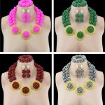 Trendy Nigerian Wedding African Beads <b>Jewelry</b> Set <b>Accessories</b> Party Nigeria Wedding Set <b>Jewelry</b> Crystal Earrings For Women