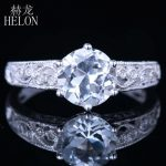 HELON 925 Sterling Silver 8mm Round 2.12ct White Topaz Diamonds Retro <b>Art</b> <b>Deco</b> Style <b>Jewelry</b> Engagement Wedding Ring wholesale