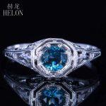 HELON 4.5mm Round Genuine Blue Topaz Solid 14K White Gold Engagement Anniversary Fine Ring <b>Art</b> <b>Deco</b> Women's <b>Jewelry</b> Ring