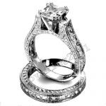 Fashion <b>Jewelry</b> <b>Antique</b> 2ct princess cut 5A Zircon stone 14KT White Gold Filled 2-in-1 Engagement Wedding Ring Set Size 5-11
