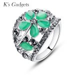 Green Natural Opal Ring <b>Antique</b> Silver color Vintage <b>Jewelry</b> Fashion Crystal Rhinestone Rings For Women Anelli Donna