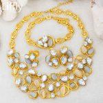Luxury New Fashion 24 Gold <b>Jewelry</b> Sets AAAA Crystal Big Necklace Bracelet Earring Charm Women Dance Party <b>Accessories</b> <b>Jewelry</b>