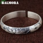 BALMORA 990 Pure Silver Lotus Flower Open Bangles for Women Mother Gift about 18cm Bracelet Elegant <b>Jewelry</b> <b>Accessories</b> SZ0495