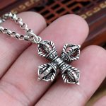 Solid Silver 925 Cross Vajra Pendant Charms For Necklace Men Women Real 925 Sterling Silver <b>Jewelry</b> Gothic Punk Style <b>Accessory</b>
