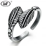 WK Vintage Adjustable Leaf Feather Ring 925 Sterling Silver Thai Anti Allergy Ancient <b>Antique</b> Retro Rings <b>Jewelry</b> Women W4 RF025
