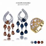 Trendy Wedding party <b>Accessories</b> Bright Red Yellow Blue Crystals Statement <b>Jewelry</b> Water Drop Dangles Tassel Earrings & Ring set