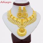 Adixyn NEW Necklace Earrings Set <b>Jewelry</b> Women Girls Gold Color Romantic Arab/Ethiopian/African Wedding <b>Accessories</b> N12191