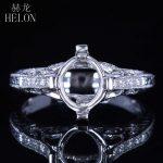 HELON Solid 14K/585 White Gold Oval Cut 9x7mm Pave Diamonds Semi Mount Filigree Engagement Wedding Antique <b>Art</b> <b>Deco</b> <b>Jewelry</b> Ring
