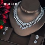 HIBRIDE Luxury Sparkling Full Cubic Zirconia <b>Jewelry</b> Sets For Women Earring Necklace Set Dress <b>Accessories</b> Party Gifts N-328