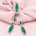 PATAYA Green Mariquesa <b>Jewelry</b> Sets True White Gold Natural Zircon Big Earrings Ring Fine Weddings <b>Accessories</b> Bride <b>Jewelry</b> Set