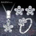 ANFASNI New Authentic 100% 925 Sterling Silver Dazzling Daisy <b>Jewelry</b> Sets Women <b>Jewelry</b> <b>Accessories</b> 1-PSST0017-B
