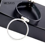 MCSAYS Rocker Punk <b>Jewelry</b> Stainless Steel Big Loop Pendant 44cm Leather Chokers Necklace Gothic 80S Fashion <b>Accessories</b> 4HD