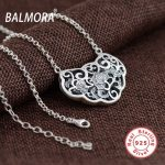 BALMORA 100% Real 925 Sterling Silver <b>Jewelry</b> Hollow Flower Retro Pendant Necklaces Female <b>Accessories</b> Gifts Bijoux JLWC80731