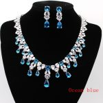 GZJY Bueatiful Bridal <b>Accessories</b> White Gold Color blue Red Crystal Zirconia <b>Jewelry</b> Set Necklace Earrings Set 3colors