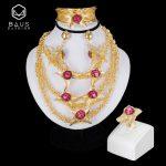 BAUS 2018 Dubai Gold color <b>jewelry</b> sets Nigerian wedding african beads ethiopian Bridal <b>accessories</b> big necklace earrings sets