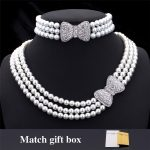 Pearl <b>Jewelry</b> Sets For Women Beads Multi-layer Necklaces Bracelet Rhinestone Bownot Wedding <b>Accessories</b> <b>Jewelry</b> Set NH1202