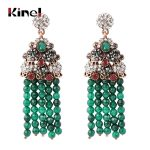Kinel Exaggerated Natural Stone Big Tassel Earrings For Women <b>Antique</b> Gold Color Fashion Crystal Flower Vintage <b>Jewelry</b> Gift