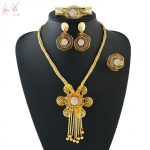 YULAILI Costume Jewelery Sets for Women Gold Color Necklace Bangle Earrings Ring Vintage Fashion <b>Accessories</b>
