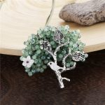 Crystal Beads Flower Tree Pins and Brooches for Women Natural Shell Bird Brooch <b>Antique</b> Silver Plated Green and Blue Pin <b>Jewelry</b>
