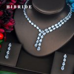 HIBRIDE Brilliant Clear Water Drop Full Cubic Zirconia <b>Jewelry</b> Sets For Women Bride Necklace Set Wedding <b>Accessories</b> GiftsN-424