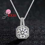 PATICO Hot 925 Sterling Silver Necklace And Pendants <b>Jewelry</b> For Women With Box Chain Luxurious Big CZ Crystal Stone <b>Accessories</b>