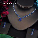 HIBRIDE Beautiful Blue Love Heart Shape CZ <b>Jewelry</b> Sets For Women Luxury Necklace Set Wedding Dress <b>Accessories</b> N-453