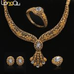 African Beads <b>Jewelry</b> Sets Summer Style Wedding <b>Accessories</b> Fine Crystal Gold-color Bridal Necklace Bracelet Earrings Rings Set