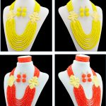 Women Wedding <b>Accessories</b> African Beads <b>Jewelry</b> Set Costume nigerian Crystal Love Necklace Earring Sets