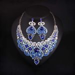 New Bridal <b>Jewelry</b> Sets Wedding Necklace Earring For Brides Party <b>Accessories</b> Large Blue Crystal Rhinestone Women Gift
