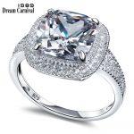 DreamCarnival 1989 Grand Big Zircon Crystal Wedding <b>Accessory</b> 925 Sterling Silver <b>Jewelry</b> Square Stone Lady Luxury Ring SJ22660
