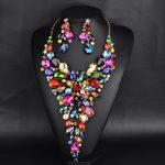 Luxury Fashion Bridal <b>Jewelry</b> Sets Gorgeous Crystal Rhinestone colorful Necklace Earring For Brides Wedding Dress <b>Accessories</b>