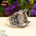 100% sterling silver 925 <b>jewelry</b> Adjustable Claws Ring Blank Fit with 10x14MM Setting Square Stone <b>Antique</b> Silver Classical