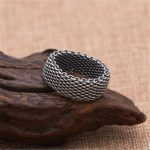 <b>Antique</b> Silver 925 Link Weave Band Ring Men 1.0cm Soft Band Simple 100% Real 925 Sterling Silver Material Top Craft Mens <b>Jewelry</b>