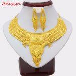 Adixyn NEW 45cm/18inch Fashion Necklace/Earrings/Ring <b>Jewelry</b> Set Women Gold Color Arab/Ethiopian <b>Jewelry</b> Wedding <b>Accessories</b>