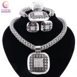 African Beads <b>Jewelry</b> Sets Wedding <b>Accessories</b> Fine Crystal Silver-color Bridal Necklace Bracelet Earrings Rings Set