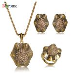 High Quality Vintage Antique Gold Crystal Flower Pendant Necklace Earring Ring <b>Jewelry</b> Set girl Banquet Party <b>Accessories</b> Gift