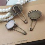 50pcs/Lot 13*18mm,18*25mm Lace Pad Brooches <b>Antique</b> Bronze vintage cabochon pin base blank settings diy handmade <b>jewelry</b>