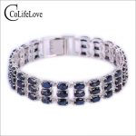 Luxurious natural sapphire bracelet 63 pcs Chinese navy blue sapphire bracelet solid 925 <b>sterling</b> <b>silver</b> sapphire <b>jewelry</b>