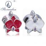 Slovecabin <b>Antique</b> 925 Sterling Silver Orchid Flower Crystal Beads With Enamel Fit Original Women Pan Bracelets DIY Fine <b>Jewelry</b>