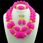 Fashion Wedding <b>Accessories</b> African Beads <b>Jewelry</b> Sets Women Crystal Gold-color Bridal Pendant Necklace Drop Earring