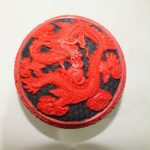Chinese Carved Flower Red Cinnabar Lacquer Dragon <b>Jewelry</b> Box