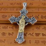 S925 Sterling Silver Pendant <b>Jewelry</b> Wholesale Silver <b>Antique</b> Style Cross Pendant double Mary Maria